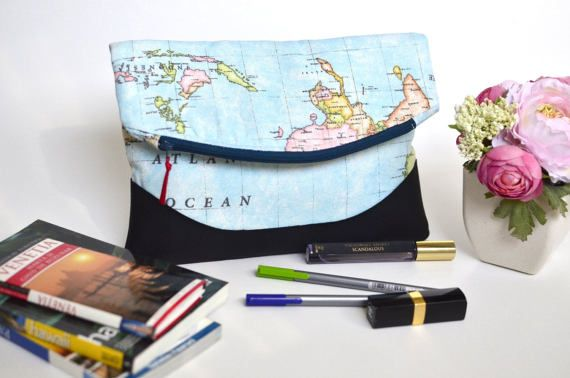 World map folding clutch World map fabric and faux leather