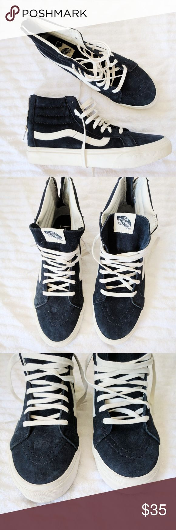 SALE price firm Vans SK-8 HI navy suede shoes New without box with minor marks on front toes as seen in third picture. Men - 8, Women - 9.5 Vans Shoes Sneakers