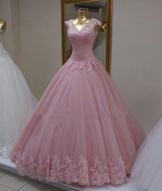 Long Prom Dress,Ball Gown Appliques Prom Dresses,Tulle Prom