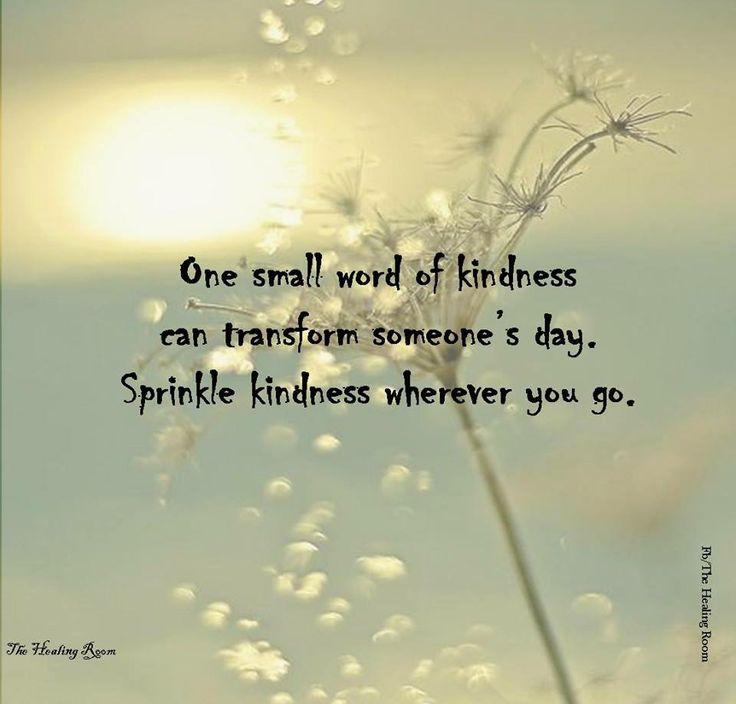 One small word of kindness can transform someone's day.  Sprinkle kindness wherever you go.