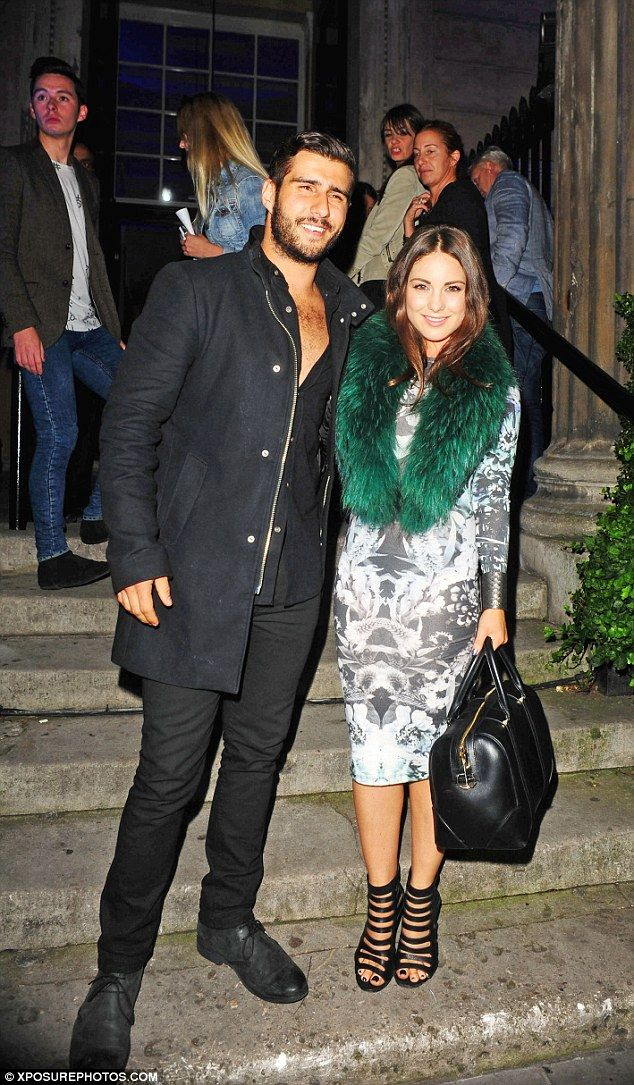 Furry nice: Made In Chelsea's Louise Thompson was on the arm of Alik Alfus