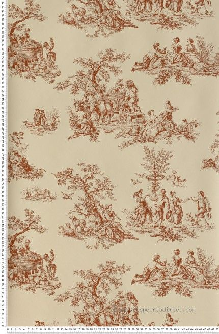 toile de jouy rouge papier peint lut ce classic wallpaper. Black Bedroom Furniture Sets. Home Design Ideas
