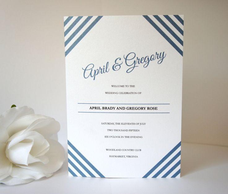 Navy Blue Program - Wedding Ceremony Programs, Modern Wedding Programs, Modern Programs, Blue, Stripes - DEPOSIT