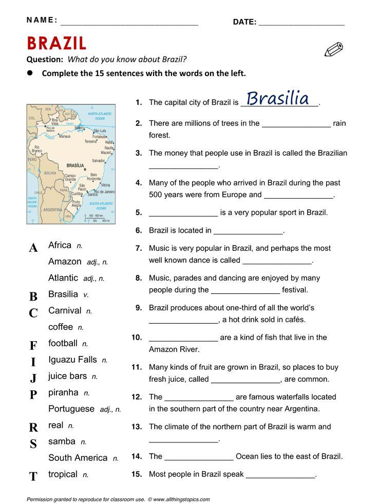 Brazil, English, Learning English, Vocabulary, ESL, #EnglishPhrase #Brazil #learnenglish @English4Matura