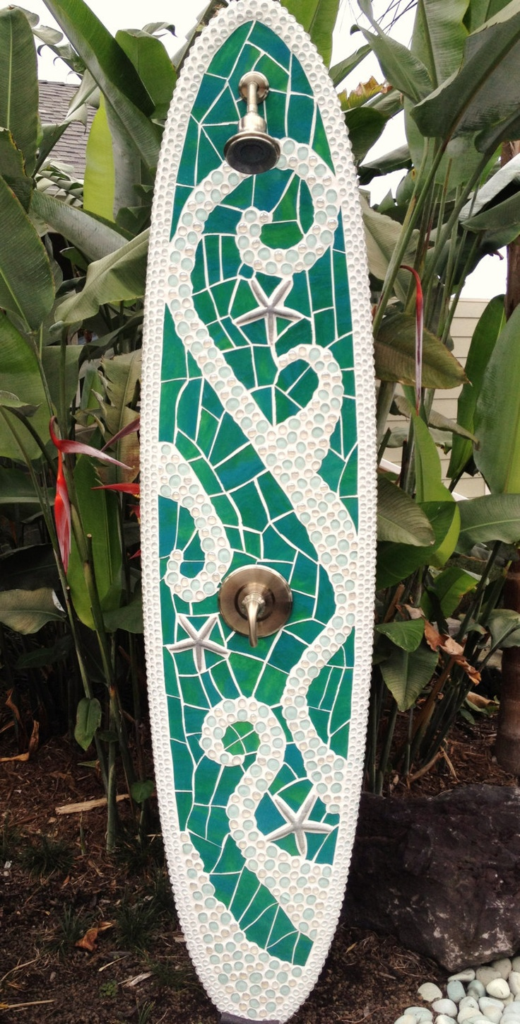 Longboard outdoor surfboard shower with glass by TropicalArtist