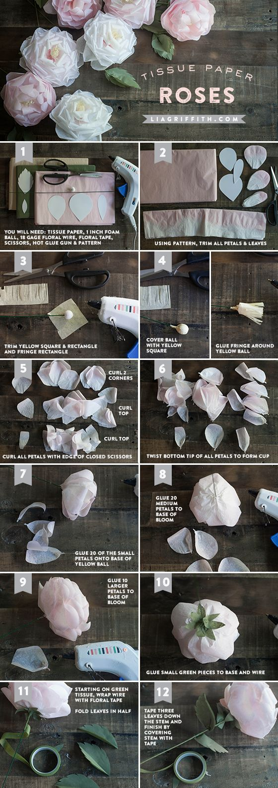 How to make tissue paper roses - pattern http://liagriffith.com/wp-content/uploads/2014/06/TissuePaperRosePattern.pdf