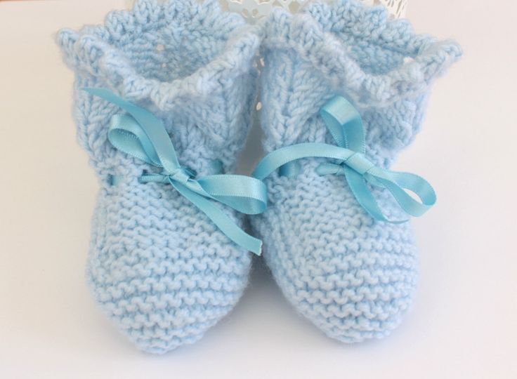 Baby Booties, Traditional Booties, Pale Blue Booties, Wool Booties, Baby Boy Shoes, Baby Shoes, Hand Knit Booties, Baby Boots, New Baby Gift by Pinknitting on Etsy