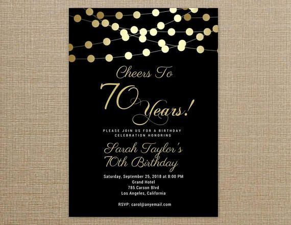 This listing is for a black and gold 70th birthday invitation template that you can print at home or any local print shop such as Staples, OfficeMax, Office Depot, etc. The 70th birthday invitation template will be personalized with your information and sent to your Etsy email