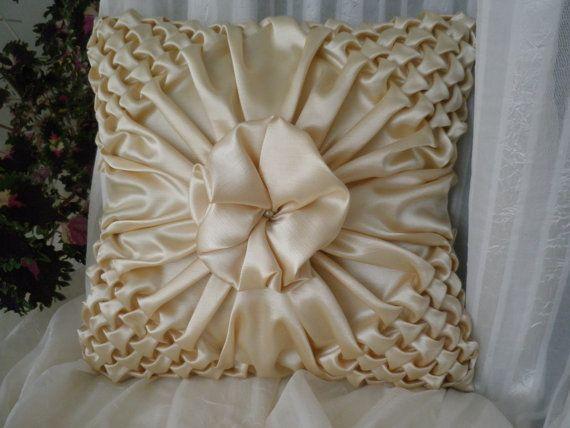 Silk Smock Cushion Yellow Pillow Cover,Smocked Pillow,Yellow Pillow Cover,Yellow Pillow,Couch Pillow,Yellow Throw Pillow,17 inch Pillow