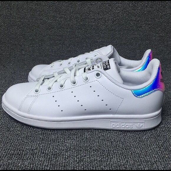 Adidas Stan Smith holographic Never worn before. I bought these awhile back online and the shoe box got damaged on the way. Super cute, size 7.5 women's. I normally wear 7.5-8 and Stan Smiths usually run slightly larger. Adidas Shoes Athletic Shoes
