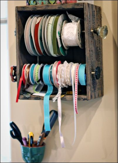 uses for old drawers or crates (like the doorknob touch) good idea for ribbon, twine or thread.  Visit artfulldelight.blogspot.com