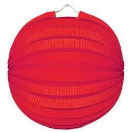 Een bol lampion met een diameter van 23 cm. Kleur rood. themafeesten herfst