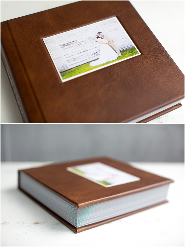 """Leather Craftsmen 10x10 3500 Flush Album. The Cover Material = Distressed Brown. The 6"""" x 4"""" cover inset photo is mounted in the Optical Center position on top of a White Liner. Page Thickness = Thin Black Pages. Total # of sides = 72. Source: (http://bradleyjamesphotography.com/2012/photographers-wedding-the-album/)"""