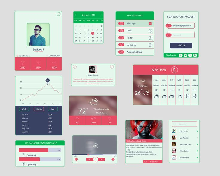 Free Colored UI Kit In Flat Design, #Calendar, #Chart, #Flat, #Form, #Free, #Menu, #Navigation, #Player, #Profile, #Progress, #PSD, #Resource, #Search_Field, #Sign_in, #Slider, #Statistics, #UI, #Weather, #Widget