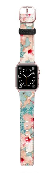 Casetify Apple Watch Band (42mm) Saffiano Leather Watch Band - Painted Hibiscus Patchwork Pattern  by Micklyn Le Feuvre
