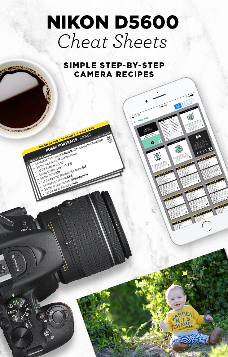 Simple step-by-step cheat sheets for the Nikon D5600 to help you