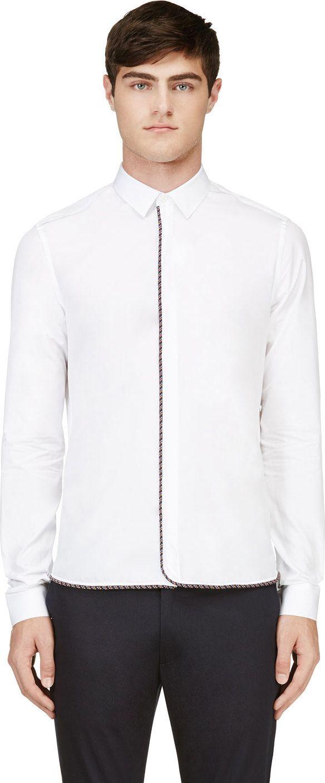 Krisvanassche: White & Navy Woven Trim Shirt | SSENSE