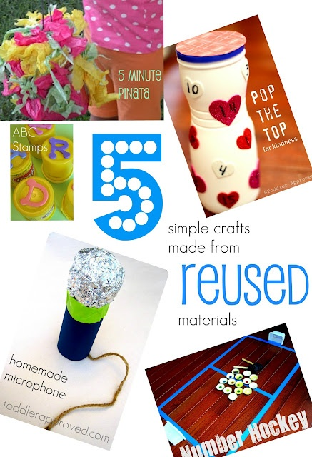 """5 Simple Crafts you can make from Reused materials. Do you have a favorite item that some might consider """"trash"""" that you love to create with? www.toddlerapprov...Simple Crafts, Toddlers Approved, Wonder Earth, Upcycling Projects, Kids Activities, Toddlers Ideas, Kids Crafts, Reuse Materials, Teaching Kids"""