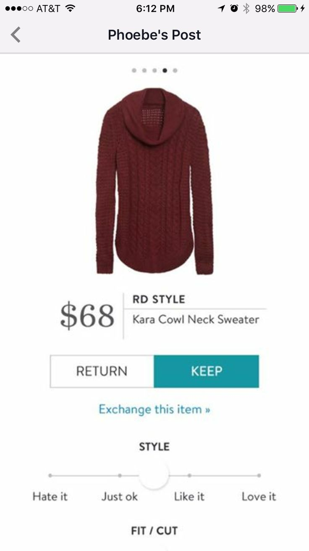 Dear Stitch Fix Stylist, I really like cowl neck sweaters and how they drape. Kara