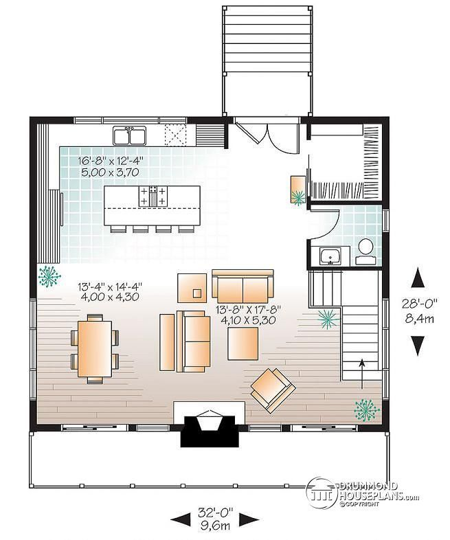 W3969 scandinavian rustic ski chalet plan with 3 bedroom for Ski house plans