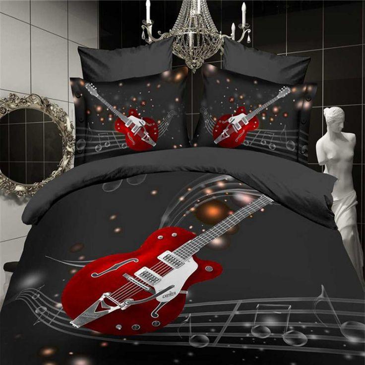 3D+Print+Fashion+Red+Guitar+Musical+Bedding+Set+Duvet+Cover+Sheet+Pillow+Cases++#FourBeddingSet+#Modern