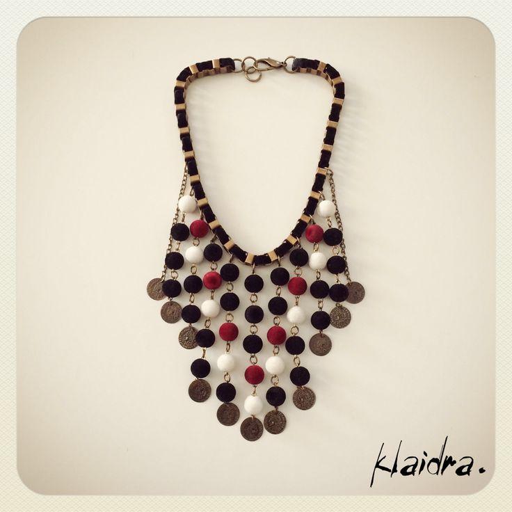 Getting on Valentine's mood #klaidra *velvet beaded* necklace #jewelry #handmade #bohemian #ethnic #gypsy #fashion #beaded #necklace #velvet #vday #statement #designers #greekdesigners #klaidrajewelry #vday2015 #valentines