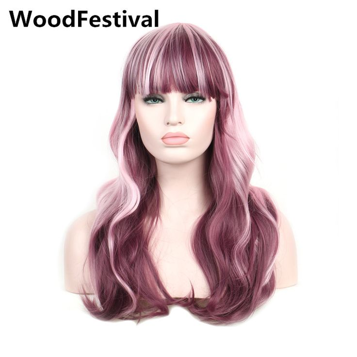 WoodFestival womens heat resistant long wavy hair burgundy mix pink wig cosplay women synthetic wigs with bangs  #Affiliate