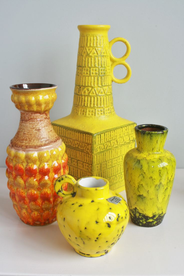 West Germany yellows (two Bay Keramik, Rhein Ruhr Keramik and Scheurich) 1960s70s