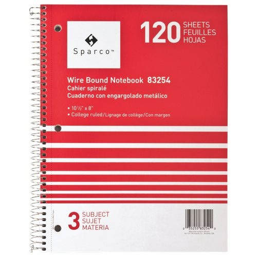 Sparco Wirebound 3-Subject College Ruled Notebook (SPR83254) - Red. Stop laughing!! I may have to write something down on paper!! Love it!! #BacktoSchool   - Online Only