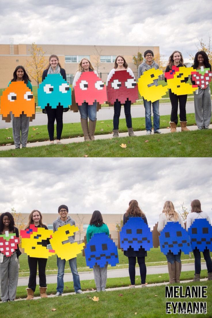 Group halloween costume. Pacman with ghosts and extra!