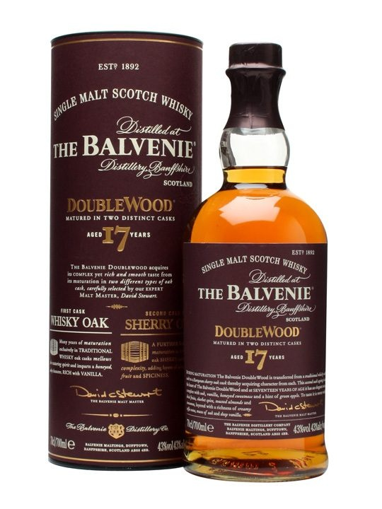 Balvenie 17 Year Old / DoubleWood : Buy Online - The Whisky Exchange - Another fantastic invention from the workbench of Balvenie Malt Master David Stewart - a 17 year old version of the best selling DoubleWood. Still initially matured in 'Whisky Oak' casks before bei...