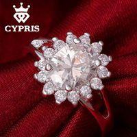 R145 2016 dos homens das mulheres de Luxo Anel de Noivado anel de prata Por Atacado joyas de plata presente de casamento dia do amante anel de cristal venda 925