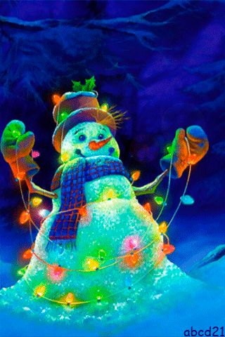 Snowman GIF with glowing garlands. Christmas GIF. Send beautiful GIF message to loved ones. Tap to see more beautiful animated GIF as Greeting cards & messages for Messengers, Whatsapp and Emails. Christmas lights! @mobile9 #gif