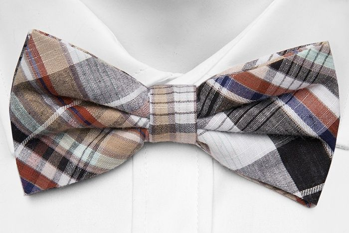 Pre tied bow tie - Black & white tartan infused with crimson and blue - Notch ZOLTAN