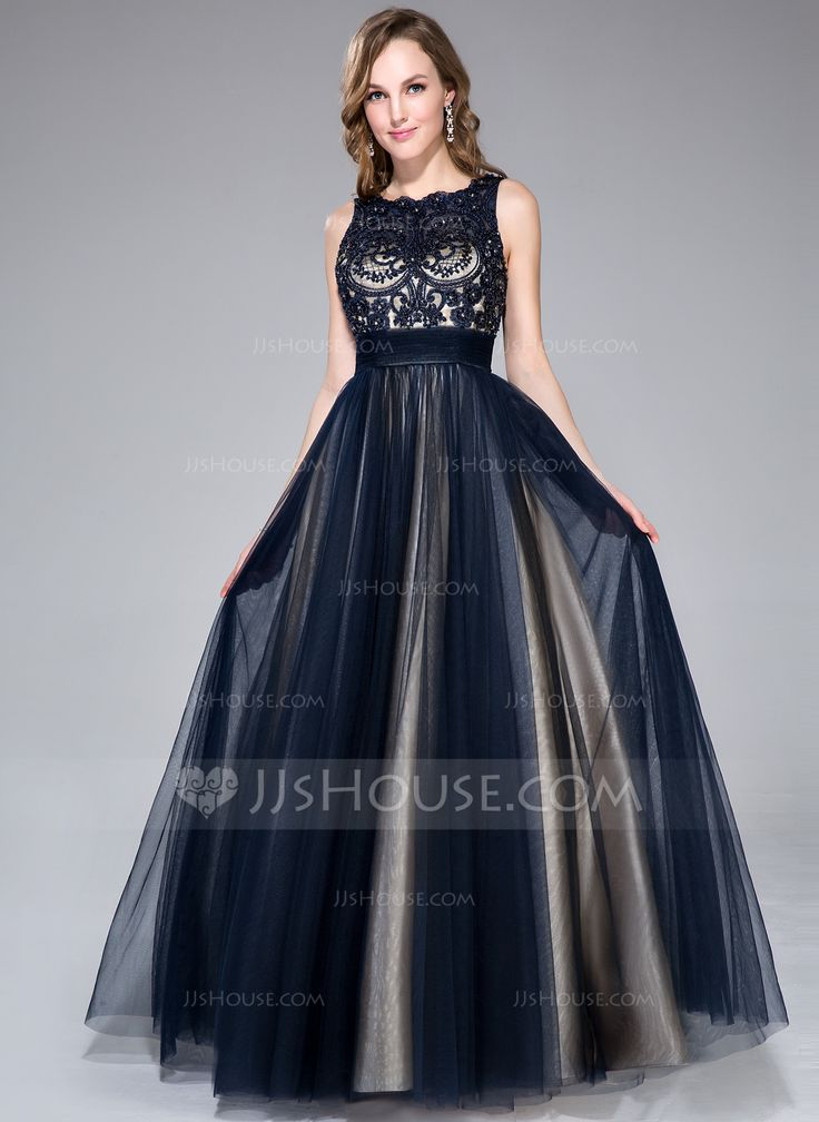 A Line Princess Scoop Neck Floor Length Tulle Charmeuse