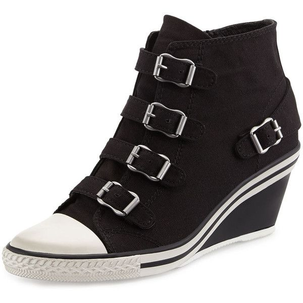 Ash Genialbis Buckled Wedge Sneaker ($135) ❤ liked on Polyvore featuring shoes, sneakers, buckle shoes, ash trainers, black buckle shoes, wedge trainers and wedge sneaker shoes