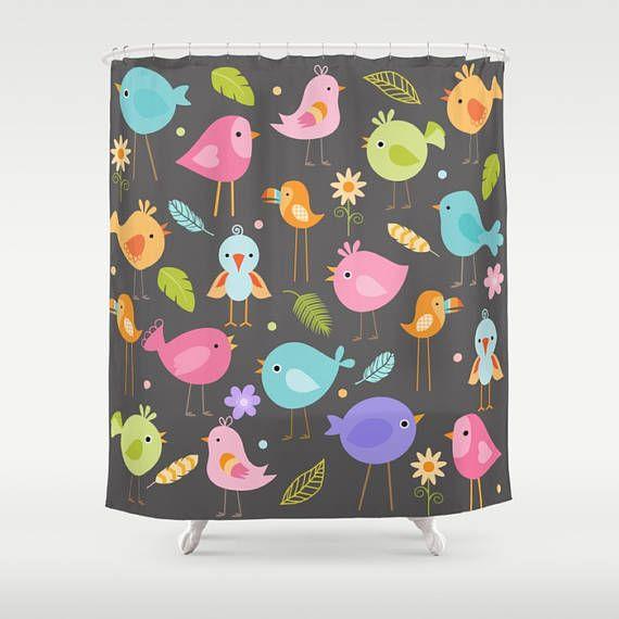 Check out Birds Shower Curtain, Bird Shower Curtain, Bird Bathroom, Bird Lover, Kids Shower Curtain, Childrens Shower, cartoon, childs shower, gray on peppermintcreek