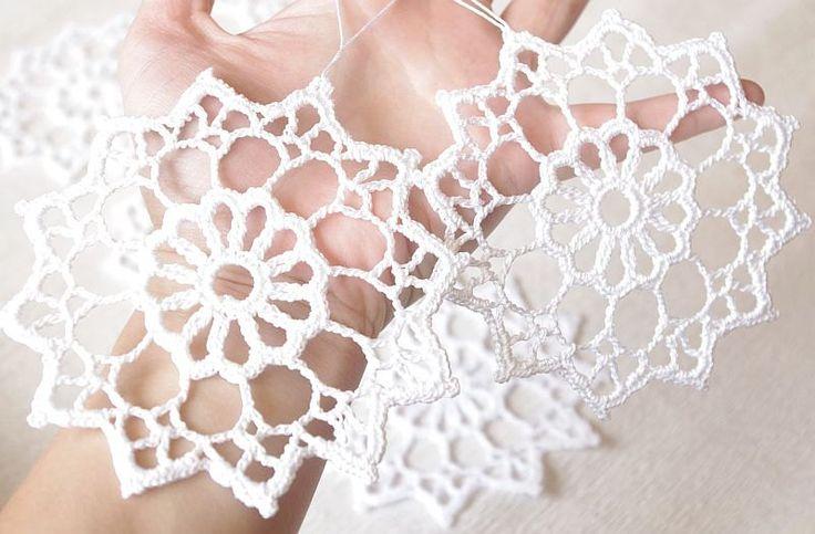Crochet snowflakes Christmas ornaments decorations set of 6 cotton embellishment white snowflakes. $22.00, via Etsy.
