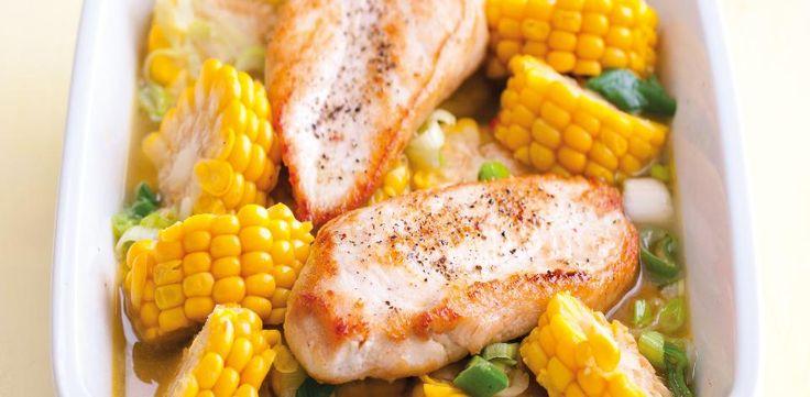 Kukuřice na másle s grilovaným kuřecím masem