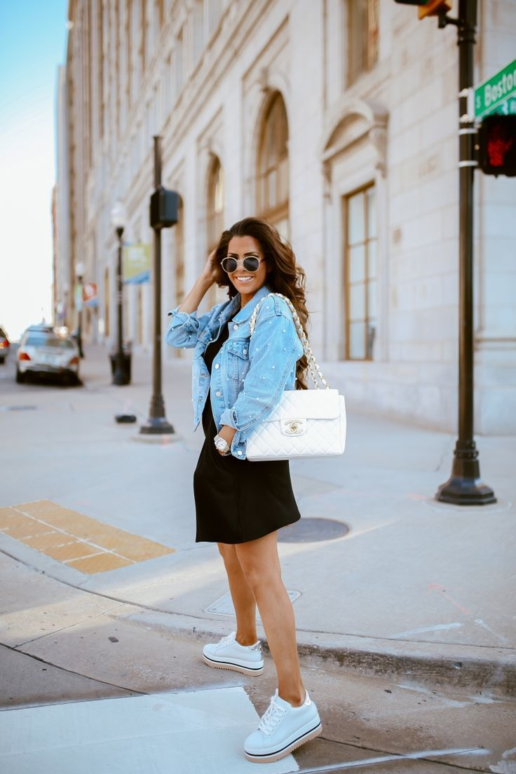 Pearl Embellished Denim Jacket The Sweetest Thing Dresses With Tennis Shoes Embellished Denim Jacket Tennis Shoe Outfits Summer [ 1104 x 736 Pixel ]