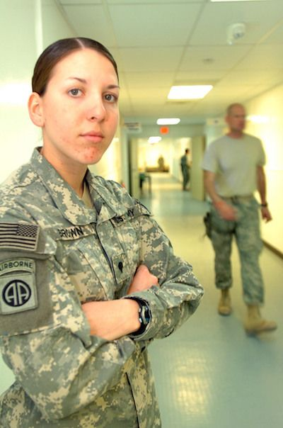 Spc. Monica Brown stands in the hallway of the Forward Operating Base Salerno's hospital in Afghanistan, Mar. 10, 2008.