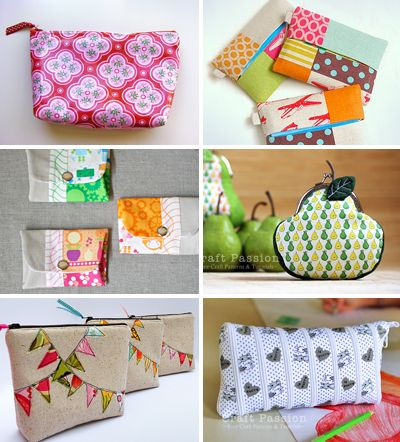Six little pouches to sew tutorials