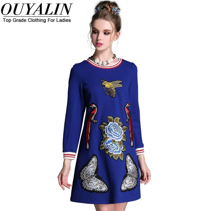 L- 5XL Fall Embroidery Short Dress Long Sleeve Striped O neck High Quality Like if you are Excited! www.artifashion.n... #shop #beauty #Woman's fashion #Products