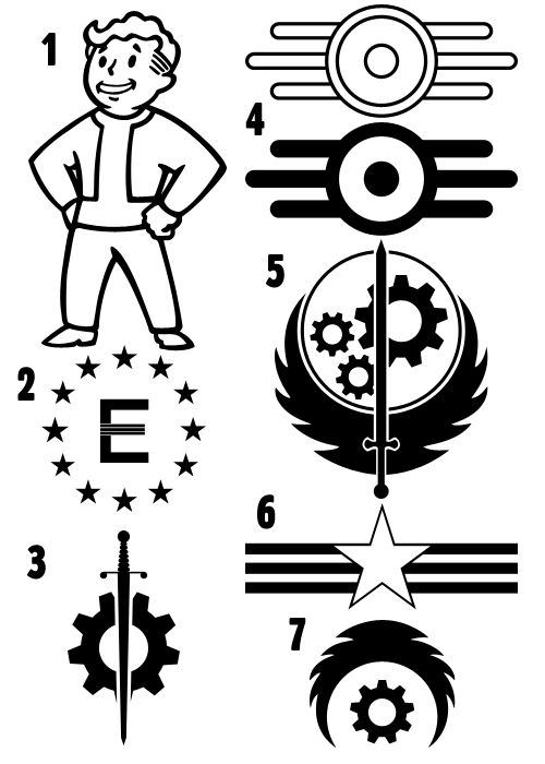 Fallout-based shape set. 1. Vault-Boy(NOT the Pip Boy) 2. Enclave (As of FO3) 3. BoS Outcast (FO3) 4. Vault-Tec symbols 5. Brotherhood of Steel 6. New California Rangers (FO2) 7. BoS Paladin (FO3) ...