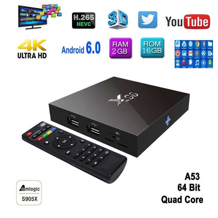 Supplylink X96 Android 6.0 Marshmallow 4K Smart TV Box, 1G/8G Amlogic S905X Quad Core 60fps VP9 H.265 Set Up Box, 4K Wifi HDMI DLNA