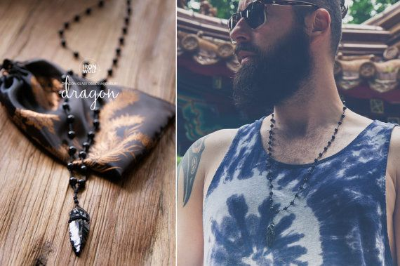DRAGON GLASS ROSARY necklace Onyx + Obsidian necklace / Obsiadian Glass Arrowhead pendant /  black men's necklace / all black necklace