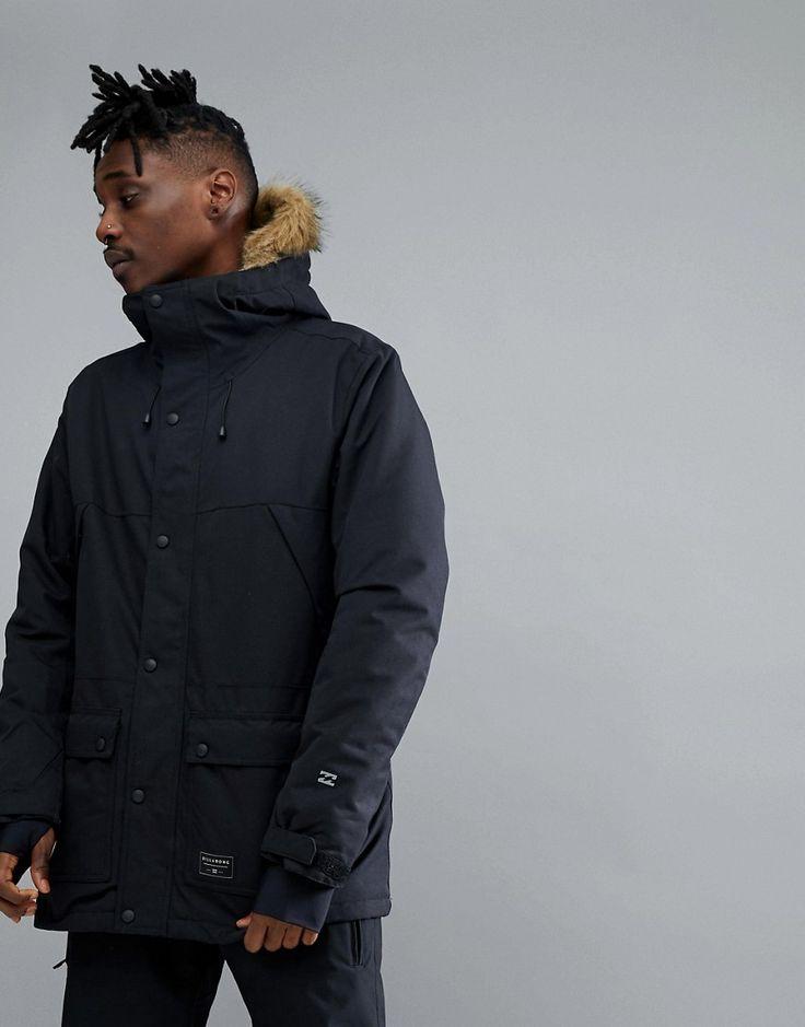 Billabong Winter Parka in Black with Faux Fur Hood - Black