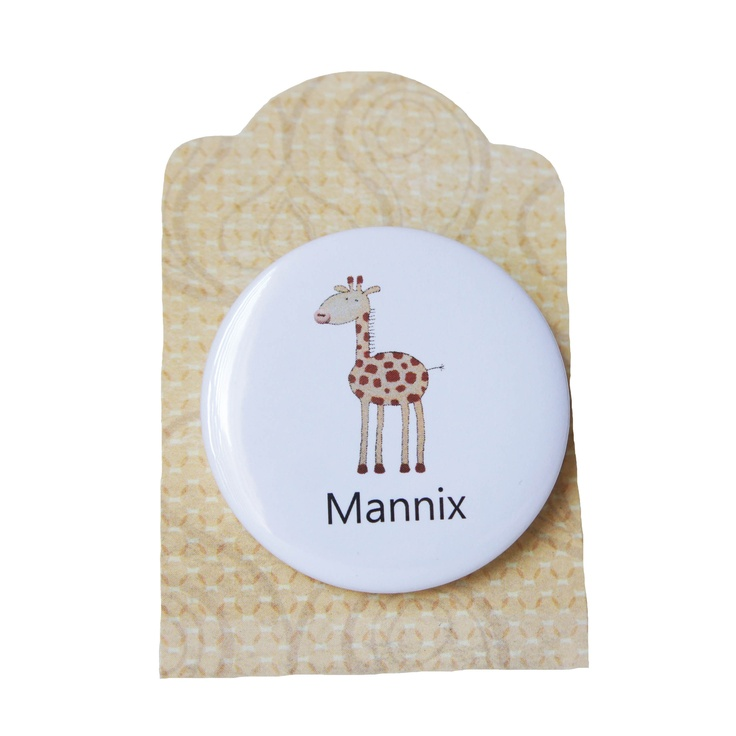 giraffe badge - personalised with any childs name http://ooakly.blogspot.com.au