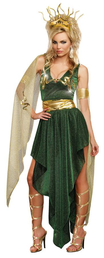 Sexy green metallic knit gown has a unique high-low hemline, gold sequin snake appliques crossing the plunging neckline meeting at the open center, and attached gold mesh sashes with gold sequin snake