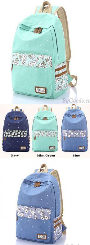 Which color do you like ? Fresh Polka Dot Mint Green Canvas School Backpacks #backpack #dot #green #canvas #school #college #rucksack